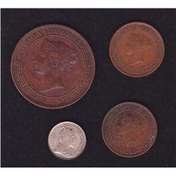 Lot of 4 Ceylon Coins