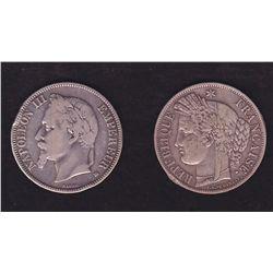 Lot of 2 Silver 5 Francs, France