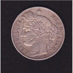 1870 Silver 5 Francs, France