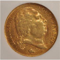 1818W Louis XVIII 20 Francs Gold Coin