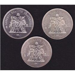 Lot of 3 BU Silver 50 Francs, France