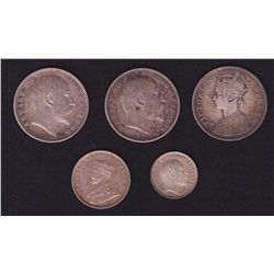 Lot of 5 India Silver Coins