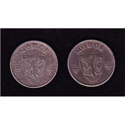 Lot of 2 Nazi Occupied Norway 25 ORE