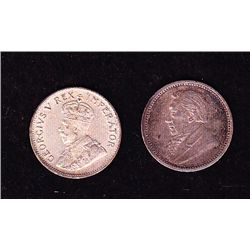 Lot of 2 South Africa 3 Pence Silver Coins