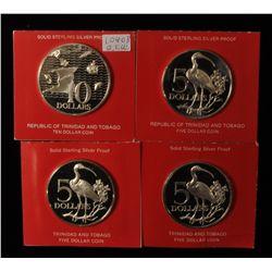 Lot of 4 Trinidad & Tobago Proof Silver Coins