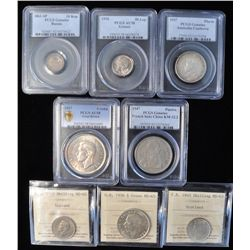 Lot of 8 Graded Foreign Coins