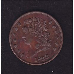 1833 USA Half Cent.