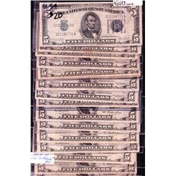 Lot of 18 Blue Seal Silver Certificates