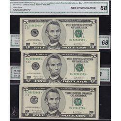 Lot of 3 CGA Graded GEM UNC-68 US Banknotes.