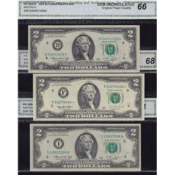 Lot of 10 Modern US CGA Graded GEM $1 & $2 Banknotes.