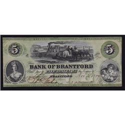1859 Bank of Brantford $5