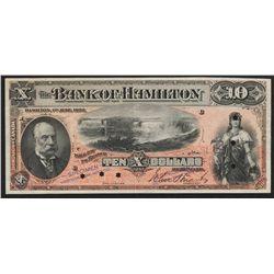 1892 Bank of Hamilton $10 Specimen