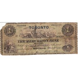 1868 Merchants Bank of Canada $1.