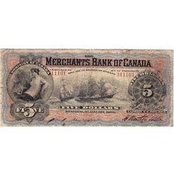 1900 Merchants Bank of Canada $5.