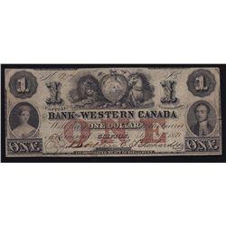 1859 Bank of Western Canada $1