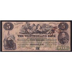 1861 Westmorland Bank $5
