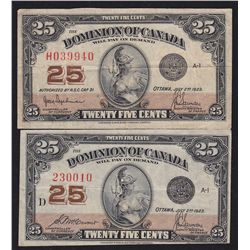 Lot of 2 Dominion of Canada Twenty Five Cents