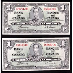 Lot of 2 Consecutive 1937 Bank of Canada $1