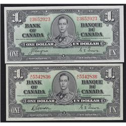 Lot of 2 1937 Bank of Canada $1