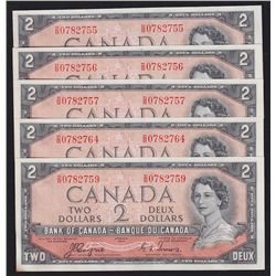 Lot of 5 1954 Bank of Canada $2 Devil's Face