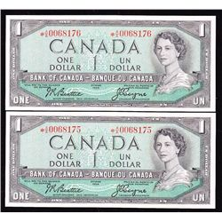 Lot of 2 Consecutive 1954 Bank of Canada $1 Replacement Notes