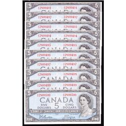 Lot of 10 Consecutive 1954 Bank of Canada $5