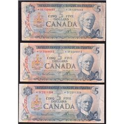 Lot of 3 1972 Bank of Canada $5 Replacement Notes