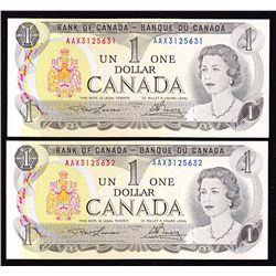 Lot of 2 Consecutive 1973 Bank of Canada $1 Replacement Notes