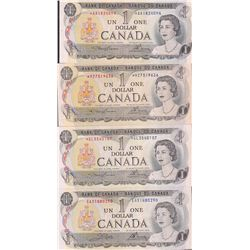 Lot of 4 Bank of Canada $1 Replacement Notes