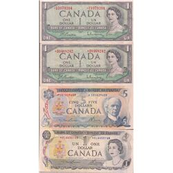Lot of 4 Bank of Canada Banknotes
