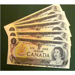 Lot of 6 Bank of Canada Banknotes