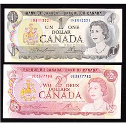 Lot of 2 Bank of Canada Notes 1973 BOC $1 & 1974 BOC $2