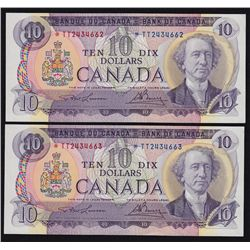 1971 Bank of Canada $10 Consecutive Pair.