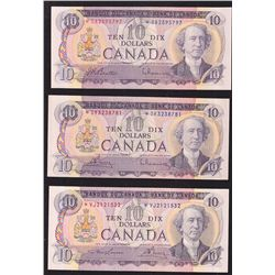 Lot of 3 Bank of Canada $10 Replacement Notes