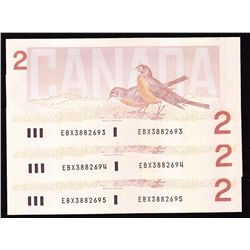 Lot of 3 Consecutive 1986 Bank of Canada $2 Replacement Notes