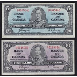 Lot of 2 Bank of Canada $5 & $10
