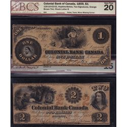 Set of 5, 1859 Colonial Bank of Canada $1-$5