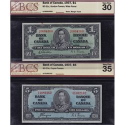 Lot of 4 1937 Bank of Canada Banknotes