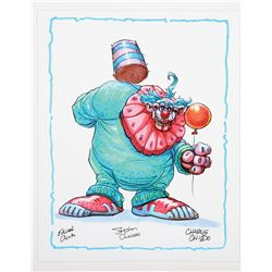 Killer Klowns from Outer Space concept print of a Klown climbing a pole signed by the Chiodo Bros