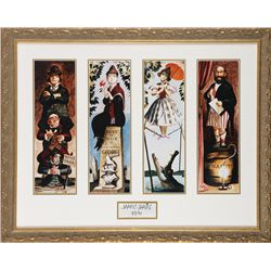 Set of 4 Disney Gallery prints of the Haunted Mansion Stretching Portraits & Marc Davis autograph