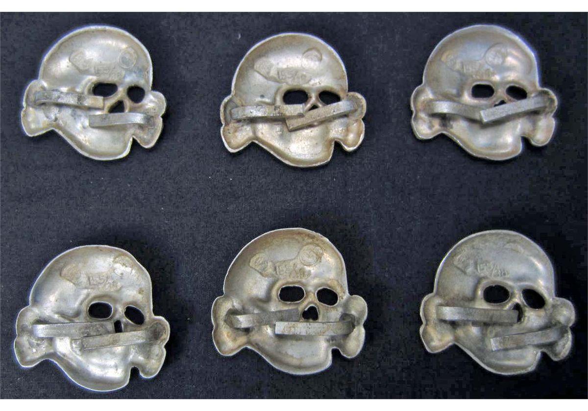 LOT OF 6 GERMAN NAZI SS TOTENKOPF CAP BADGES
