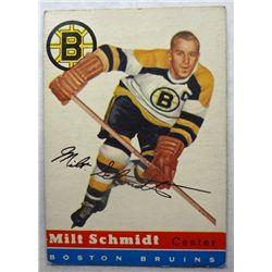 1954/55 Topps #60 Milt Schmidt, End Card
