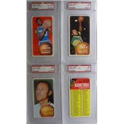 4-1970 TOPPS NBA #15, #24 CHECKLIST, #80 WILKENS & #81 ALL PSA