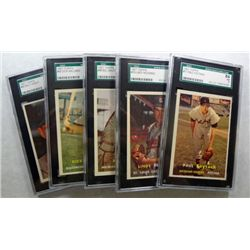 5-1957 TOPPS BASEBALL CARDS ALL SGC 84 NM