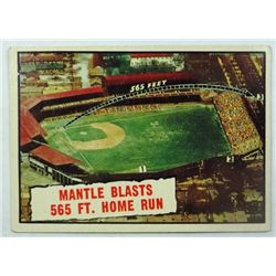 1961 TOPPS #406 MANTLE BLASTS 565 HOME RUN  EX