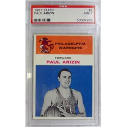 1961 Fleer Basketball #2 Paul Arizin PSA NM 7