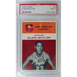 1961 Fleer Basketball #3 Elgin Baylor PSA NM 7 Rookie