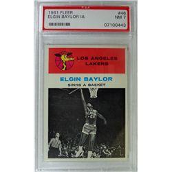 1961 Fleer Basketball #46 Elgin Baylor in action PSA NM7