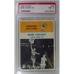 1961 Fleer Basketball #49 Bob Cousy in action PSA NM7