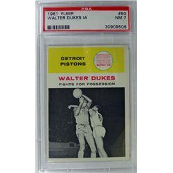 1961 Fleer Basketball #50 Walter Dukes in action PSA NM7